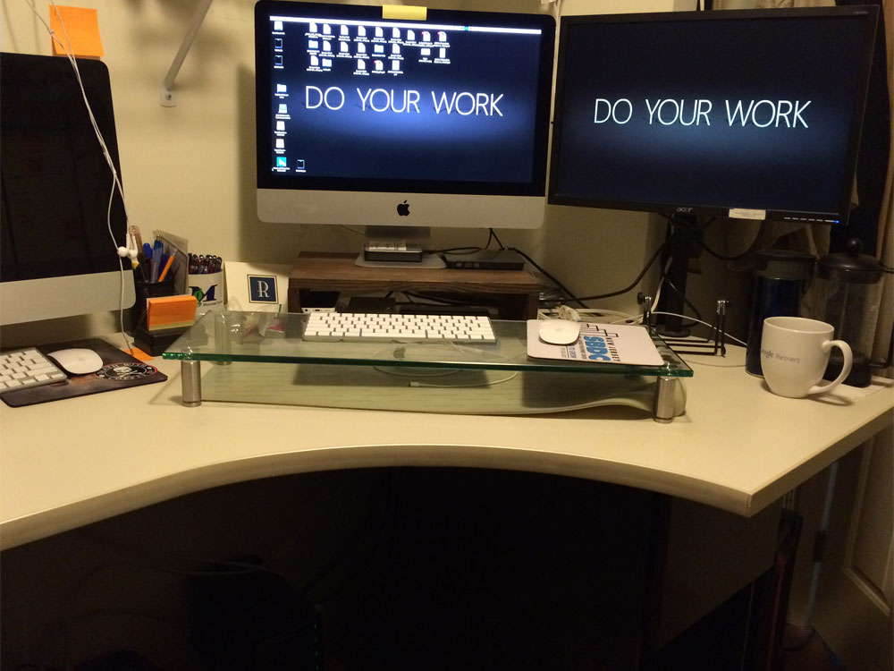 You'll need to determine the ideal height for your fixed height office standing desk. You may also need to elevate the keyboard, mouse and monitor(s).